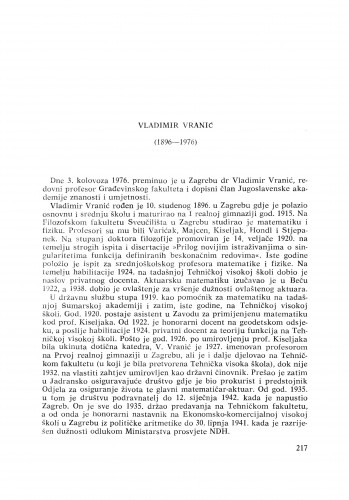 Vladimir Vranić (1896-1976) : [nekrolozi] / D. Blanuša