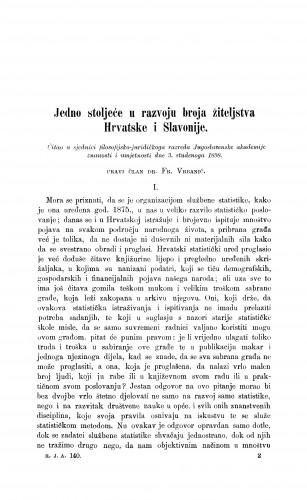 Jedno stoljeće u razvoju broja žiteljstva Hrvatske i Slavonije
