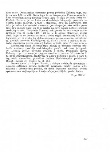 Urbanistički značaj iskapanja foruma / G. Oštrić