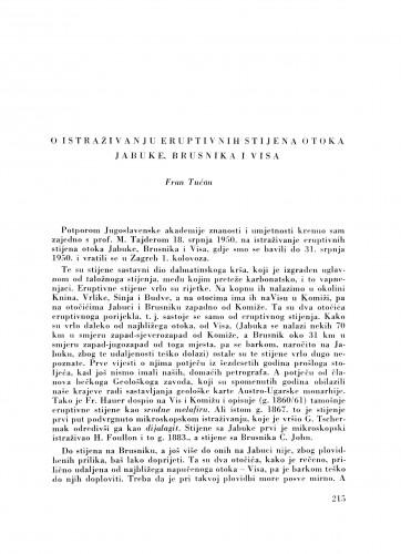 O istraživanju eruptivnih stijena otoka Jabuke, Brusnika i Visa / F. Tućan