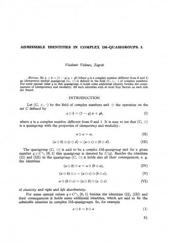 Admissible identities in complex IM-quasigroups. I.