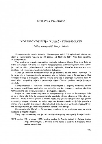 Korespondencija Kuhač-Strossmayer
