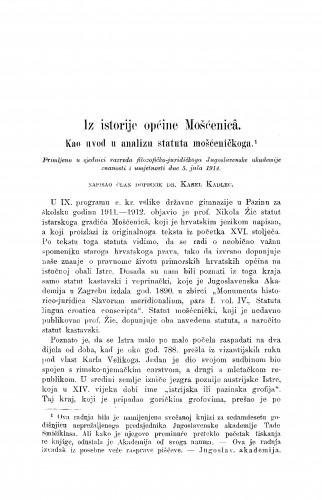 Iz istorije općine Mošćenicâ