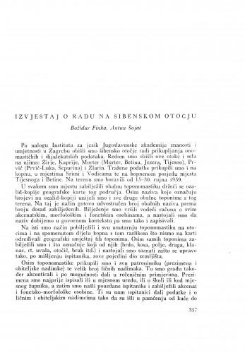 Izvještaj o radu na šibenskom otočju / B. Finka i A. Šojat