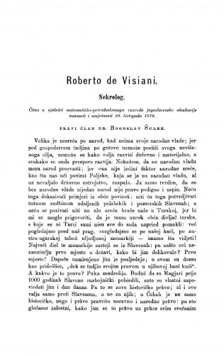 Roberto de Visiani : nekrolog : RAD