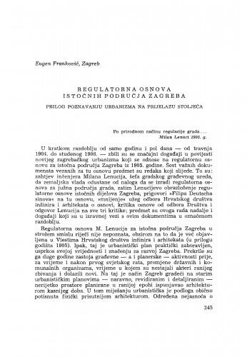 Regulatorna osnova istočnih područja Zagreba / E. Franković
