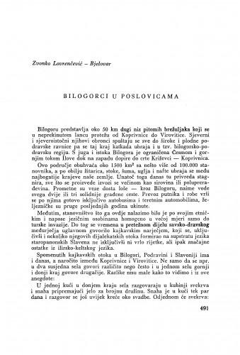 Bilogorci u poslovicama / Z. Lovrenčević