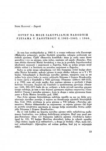 Osvrt na moje sakupljanje narodnih pjesama u Zaostrogu g. 1902-1903. i 1960 / S. Banović