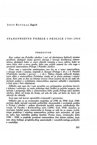 Stanovništvo Požege i okolice 1700-1950 / J. Buturac