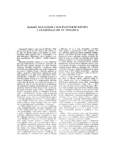 Dodiri mletačkih i dalmatinskih kipara i graditelja do XV stoljeća
