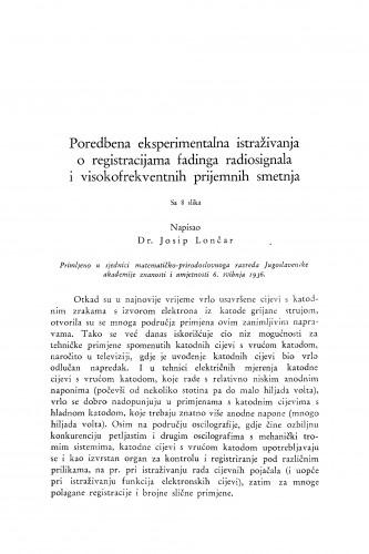 Poredbena eksperimentalna istraživanja o registracijama fadinga radiosignala i visokofrekventnih prijemnih smetnja