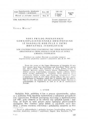 Novi prilog poznavanju gornjopleistocenske ornitofaune iz šandalje kod Pule u Istri (Hrvatska, Jugoslavija)