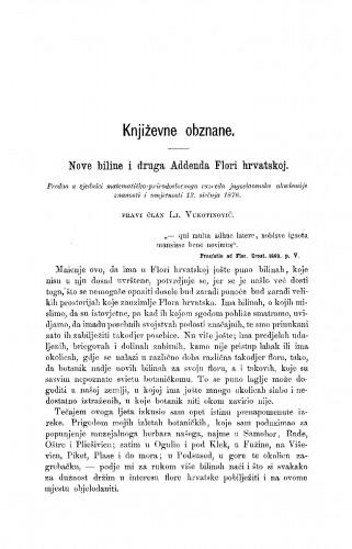Nove biline i druga Addenda Flori hrvtaskoj : RAD