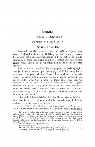 Ženidba : (Konavli u Dalmaciji.) / P. Bogdan-Bijelić