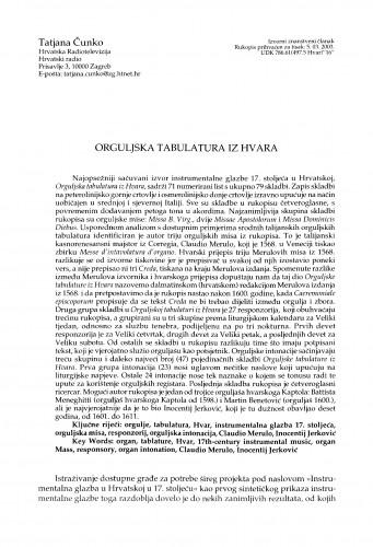 Orguljska tabulatura iz Hvara