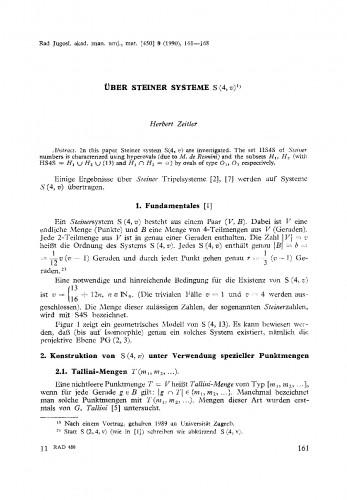 Ueber Steiner Systeme S(4, v)