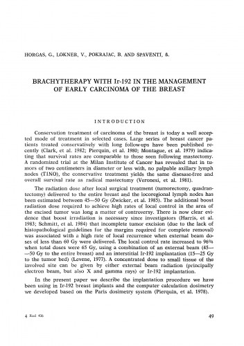 Brachytherapy with IR-192 in the management of early carcinoma of the breast