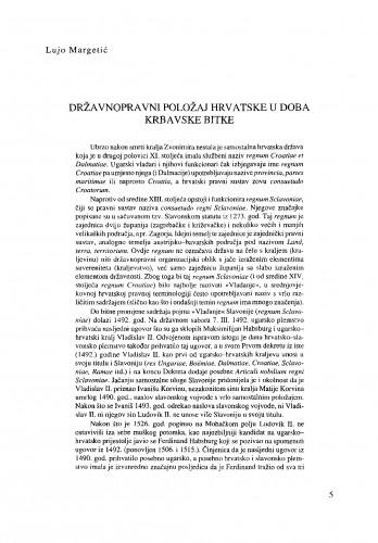 Državnopravni položaj Hrvatske u doba Krbavske bitke