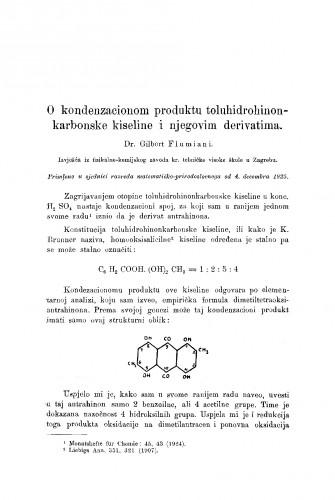 O kondenzacionom produktu toluhidrohinonkarbonske kiseline i njegovim derivatima