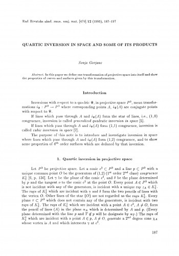 Quartic inversion in space and some of its products