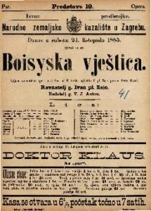 Boisyska vještica Šaljiva romantična opera u 3 / uglasbio I. pl. Zajc
