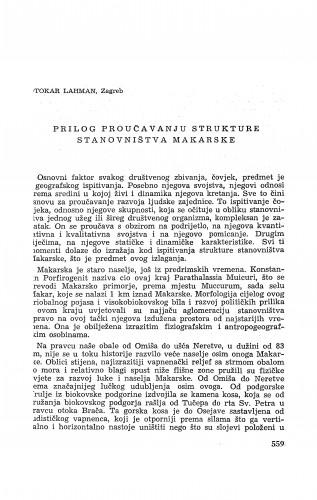 Prilog proučavanju strukture stanovništva Makarske / O. Lahman