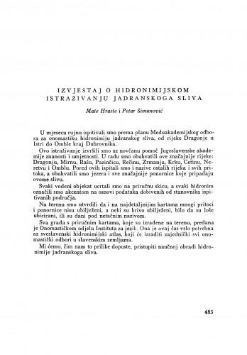 Izvještaj o hidronimijskom istraživanju jadranskog sliva / M. Hraste i P. Šimunović