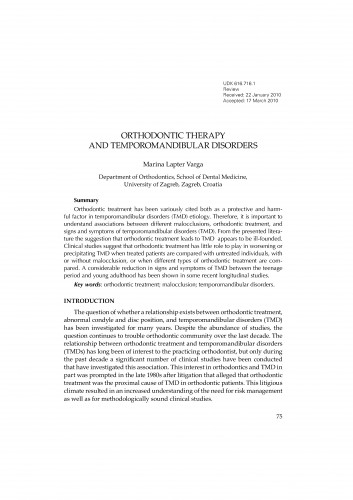Orthodontic therapy and temporomandibular disorders