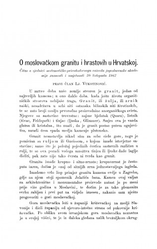 O moslovačkom granitu i hrastovih u Hrvatskoj : RAD