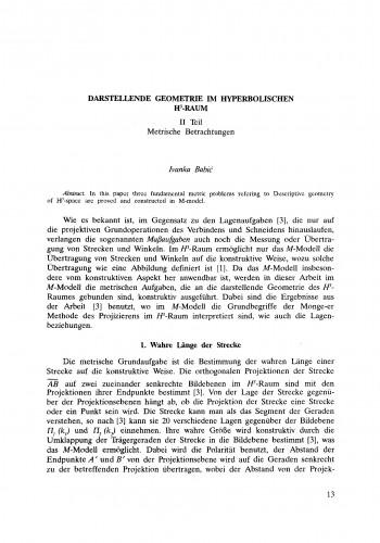 Darstellende Geometrie im hyperbolischen H!<SUP!>3!</SUP!>-Raum. II Teil: Metrische Betrachtungen