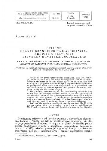 Stijene granit-granodioritne asocijacije Krndije u Slavoniji (sjeverna Hrvatska, Jugoslavija)