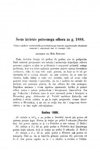 Šesto izviešće potresnoga odbora za g. 1888.