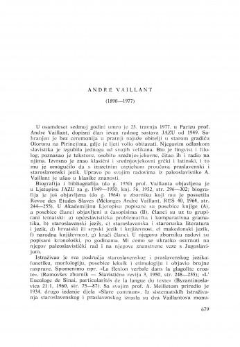 André Vaillant (1890-1977) : [nekrolozi] / A. Nazor