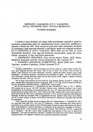 Križanić, Caramuel e P. F. Valentini sulla divisione dell' ottava musicale