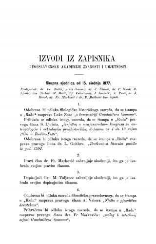 Izvodi iz zapisnika Jugoslavenske akademije znanosti i umjetnosti [1877] : RAD