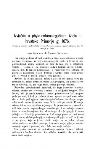 Izviešće o phyto-entomologičkom izletu u hrvatsko Primorje g. 1876 : RAD