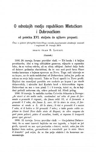 O odnošajih medju repulikom Mletačkom i Dubrovačkom : od početka XVI. stoljeća do njihove propasti (ostatak), : RAD