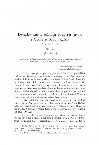 Dacitske stijene južnoga podgorja Javora i Golije u Staroj Raškoj