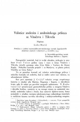 Valutice andezita i andezitskoga pršinca sa Vitačeva i Tikveša