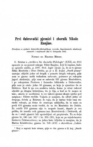 Prvi dubrovački pjesnici i zbornik Nikole Ranjine
