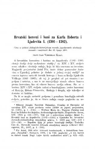 Hrvatski hercez i bani za Karla Roberta i Ljudevita I. (1301-1382)
