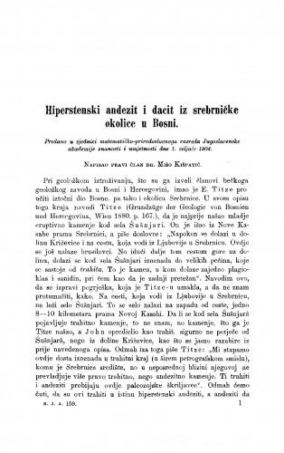 Hiperstenski andezit i dacit iz srebrničke okolice u Bosni