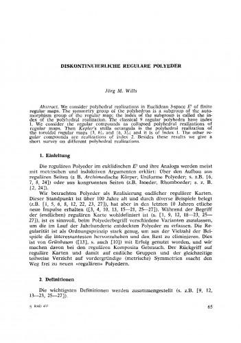 Diskontinuierliche regulaere Polyeder