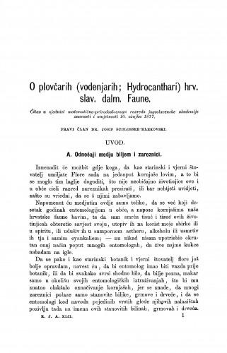 O plovčarih (vodenjarih; Hydrocanthari) hrv. slav. dalm. Faune : RAD