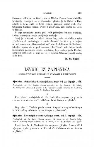 Izvodi iz zapisnika Jugoslavenske akademije znanosti i umjetnosti [1878] : RAD