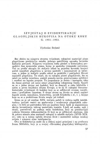 Izvještaj o evidentiranju glagoljskih rukopisa na otoku Krku god. 1951-1953 / V. Štefanić
