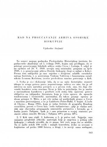 Rad na proučavanju arhiva Osorske biskupije / V. Štefanić