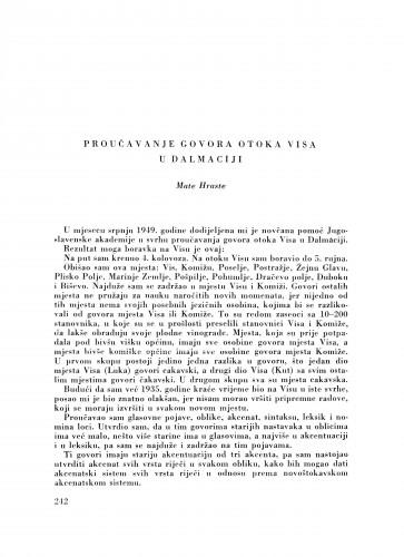Proučavanje govora otoka Visa u Dalmaciji / M. Hraste