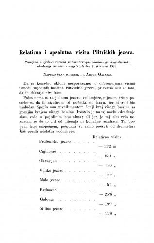 Relativna i apsolutna visina Plitvičkih jezera.