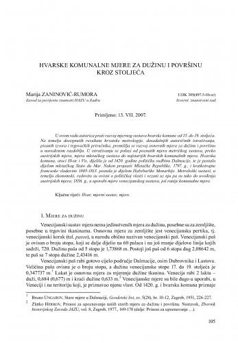 Hvarske komunalne mjere za dužinu i površinu kroz stoljeća : Radovi Zavoda za povijesne znanosti HAZU u Zadru